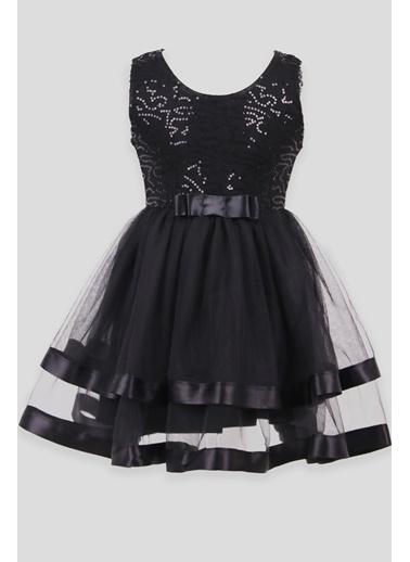 Breeze Kız Çocuk Elbise Pullu Saten Fiyonklu Siyah (5-9 Yaş) Siyah